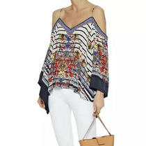 Camilla Franks Joie De Vivre Flare Sleeve Drop Shoulder Top M Uk 12 14 Navy Silk Photo
