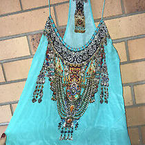 Camilla Franks Ottoman Sky Turquoise Silk Shoestring Top Size 1 Small 4 Express Photo