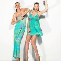Camilla Franks Swarovski Silk Antigua Short v Neck Kaftan Dress Photo