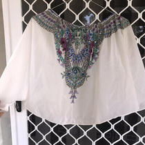 Camilla Franks White Embellished Silk Tube Top or Skirt Size 1 Small 4 Express Photo