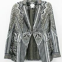 Camilla Green Art Deco Geometric Leopard Print Embellished Blazer Size S Photo