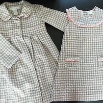 Camilla Houndstooth Dress & Coat Set Pink Gray Check Sz 3t Girls Fall Winter Photo