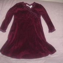 Camilla L/s Maroon Velvet Dress Ruffled Cross Over Top Sz 3t Ruffle Wrist Photo