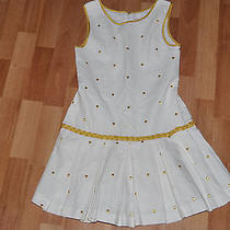 Camilla Linen and Cotton Dress Girls Size 8 Cream and Gold  Photo