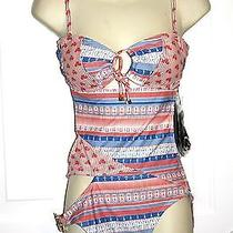 Camilla & Marc Quirky Bike & Anchor Print Monokini Red White & Blue Size 8 Nwt Photo