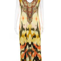 Camilla Multi Color Abstract Beaded v Neck Sleeveless Maxi Dress Size Medium Photo