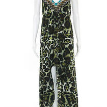 Camilla Multi Color Animal Print Beaded v Neck Sleeveless Maxi Dress Size Medium Photo