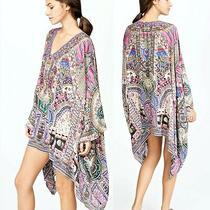 Camilla O/s Crystal Embellished Kalbelia Silk Split-Shoulder Short Kaftan Dress Photo