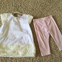 Camilla Outfit Baby Girl Size 2t 2 Piece Set Pink Leggings White Top Boho Photo