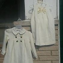 Camilla Pea Coat Dress Set Toddler Girl Sz. 2t Ivorygold Easter Church Wedding  Photo