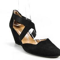 Camilla Piu Womens Suede Wedge Sandals Black Size 38 8 Photo