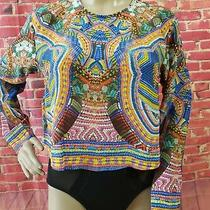 Camilla Silk Bright Multicolored Long Sleeve Women's Cropped Top Blouse  Size 12 Photo