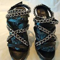 Camilla Skovgaard Black Leather Chain Embellished Strappy Sandals Us Size 6 Photo