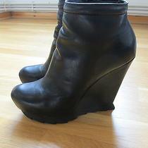 Camilla Skovgaard Black Leather Wedge Heeled Ankle Boots Uk 5.5 Eur 38.5 Photo