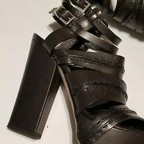 Camilla Skovgaard Brown Blackish & Silver Buckle  Platform Sandal Heels Sz 37/7 Photo