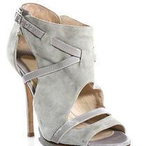 Camilla Skovgaard Light Gray Suede Open Toe Ankle High Heel Booties Size 38 8 Photo