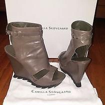 Camilla Skovgaard Opentoe Ankle Bootie Lug Platform Wedge Saw Heel Shoe 37.5  7 Photo