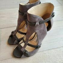Camilla Skovgaard Suede Ankle Booties Peep Toe Eu 36.5 Photo