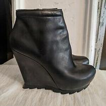 Camilla Skovgaard Women's Saw Sole Black Leather Ankle Booties 39 Womens  8.5-9 Photo
