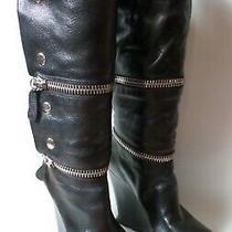 Camilla Skovgaard Zip Wedge Boots Black Leather Sherpa Lined 35.5 5 Photo