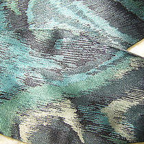 Camilla Smith Bow Tie Self-Tie New York 100% Silk Abstract Olive Green/blue Photo
