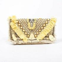 Camilla Suede Raffia Embellished Clutch Photo