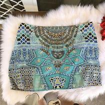 Camilla Sultans Gate Mini Skirt 4 Express Franks Embellished Size 2 Medium Silk Photo