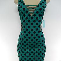 Camilla Tree Green/black Retro Polka Dot Mesh Sleeveless Dress Size M Photo