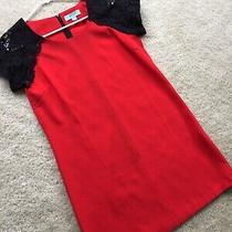 Camilla Tree Red Black Lace Short Sleeved Shift Party Dress M Photo