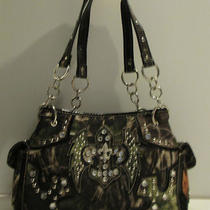 Camo Fleur De Lis Wing Hobo Handbag Purse W/rhinestone Accents Brown Green Oak Photo