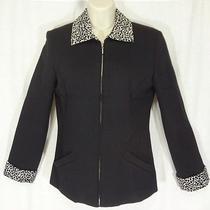 Campagnie Internationale Express  Black Wool Blend Jacket W/ Snow Leopard Trim Photo