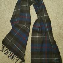 Campbell of Cawdor 100% Lambswool Vintage Scottish Brown & Blue Scarf 54x12 Photo
