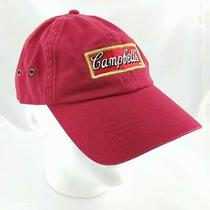 Campbell's Baseball Hat Embroidered Logo 100% Cotton Red W/ Buckle Adjuster Photo