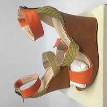 Candela Becka Wedge Sandal Orange/ Tan 10 Us Photo