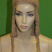 Candela Nyc Beige Knit Crochet Chullo Cap Hat W Pyramid Tassles/gold Stitch 100 Photo