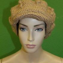 Candela Nyc Beige Knit Knot Detail Newsboy Hat W/ Small Brim & Gold Stitch 100  Photo