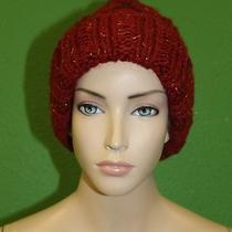 Candela Nyc Burgundy Knit Fold Over Pom-Pom Ski Cap Hat W/ Gold Stitching 100  Photo