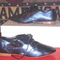 Candela Nyc Daido Womens Size 7.5 Metallic Blue Leather Jazz Flats Oxfords Shoes Photo