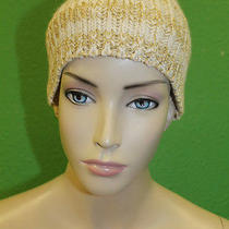 Candela Nyc Ivory With Gold Blended Stitching Knit Fitted Beanie Cap Hat 100 Photo