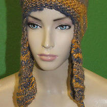 Candela Nyc Knit Crochet Chullo Cap Hat W/ Pyramid Tassles & Gold Stitch 100  Photo