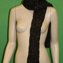 Candela Nyc Knit Crochet Dark Brown Hat & Attached Scarf W/ Gold Stitching 155 Photo