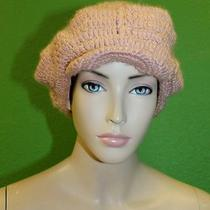 Candela Nyc Light Pink Knit Crochet Newsboy Hat W/ Small Brim & Gold Stitch 100 Photo
