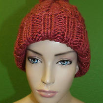 Candela Nyc Melon Knit Fold Over Pom-Pom Ski Cap Hat W/ Gold Stitching 100 New Photo