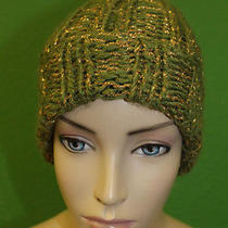 Candela Nyc Olive Knit Fold Over Pom-Pom Ski Cap Hat W/ Gold Stitching 100 Photo