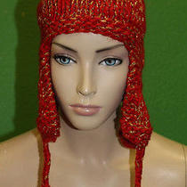 Candela Nyc Red Knit Crochet Chullo Cap Hat W/ Pyramid Tassles/gold Stitch 100  Photo