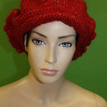 Candela Nyc Red Knit Knot Detail Newsboy Hat W/ Small Brim & Gold Stitch 100  Photo