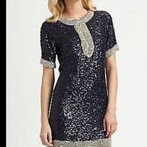 Candela Roscoe Silver Beaded Black Sequin Formal Cocktail Short Sleeve Dress S Photo