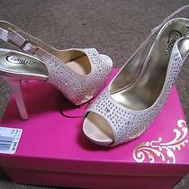 Candie's Prom Platform Blush Satin Sling Back Heels - Sz 8 - Euc for Prom - 5