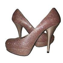 Candies Womens 7.5 Platform Shoes Pink Rose Gold Glitter Stiletto Heels Pumps Photo