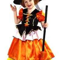 Candy Corn Witch Costume Fancy Princess Dress Child Girl's Toddler 2-4 Hat Korn Photo